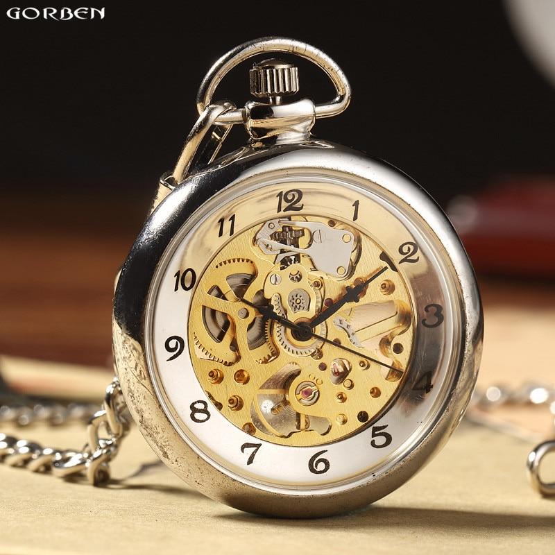 Hot Sale Retro Silver Skeleton Transparent Mechanical Pocket Watch For Men Women FOB Chain Hand Winding Full Steel Pocket Watch