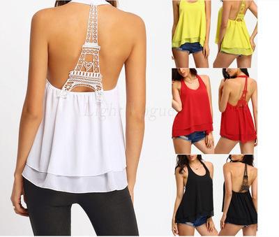Ebay Europeu Novo Padrão Torre Eiffel Rendas Pescoço Pendurado Orvalho Volta Em Torno Do Pescoço Chiffon Camisa 4 Cores 4 Código