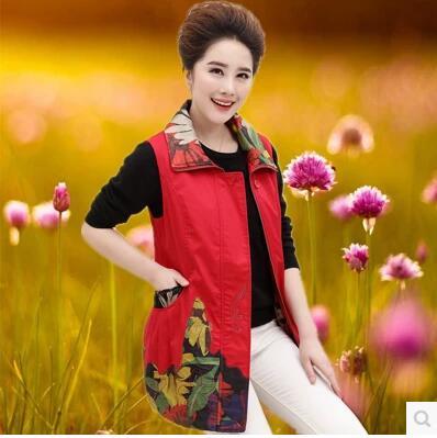 Весна матери красные, черные хлопковый жилет пальто среднего возраста Для женщин плюс размер Куртки без рукавов Винтаж Стиль жилет