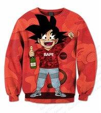 Echt amerikanische uns größe 3d sublimationsdruck einmal swagged goku crewneck sweatshirts plus größe nach maß clothing