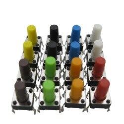 100 STÜCKE Rot blau schwarz grün weiß Gelb braun Orange 6x6x4,3/5/6/7/8/10/11/Taktile Berühren micro Druckknopfschalter tact switch