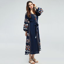 2017 Casual Long Maxi Dress Women Runway Style Vintage Bohemian Embroidery Lace Up Lantern Sleeve Summer Dresses Vestidos Mujer