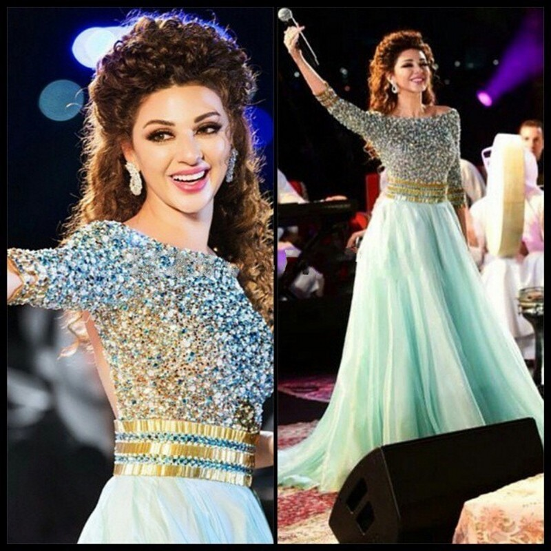 2019 A Line Myriam Fares Celebrity Dress Scoop Neck Three Quarter Sleeves Beaded Crystals Sequins Tulle Long Prom Dresses(China)