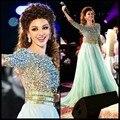 2016 Una Línea de vestidos de Myriam Celebrity Vestido de Escote Redondo de Tres Cuartos Mangas Con Cuentas Cristales Lentejuelas Tulle Baile Vestidos Largos