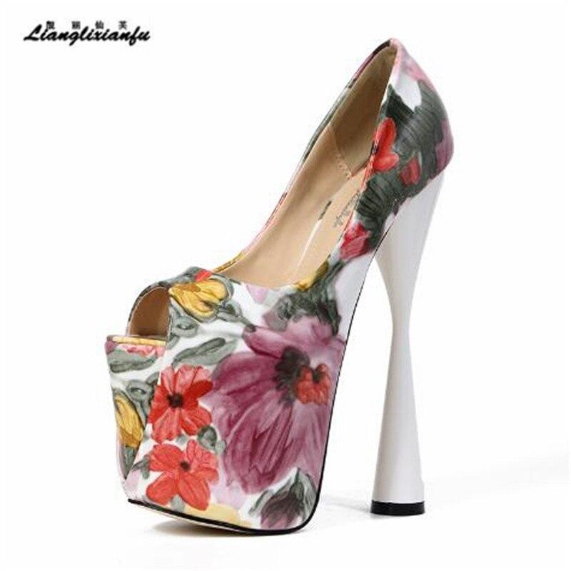 LLXF Plus: 46 47 szpilki wybiegu pokazuje Peep Toe Sexy 19 cm buty na wysokim obcasie kobieta skóry lakierowanej drukowanie sandały kobiet pompy w Buty damskie na słupku od Buty na AliExpress - 11.11_Double 11Singles' Day 1