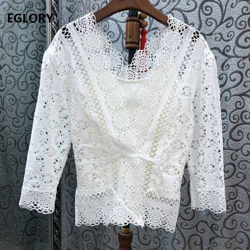 100% coton Blouse chemise 2019 été mode couverture en dentelle femmes col en v Crochet dentelle broderie blanc noir Vintage Blouse chemise