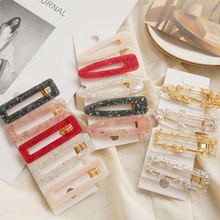 NEW Girls Hollow Geometric Waterdrop Acrylic Hair Barrettes Shiny Tin Foil Sequins LadyHairpins Fashion Women Accessories