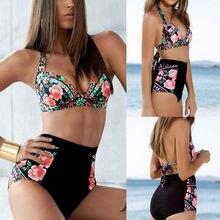 цена 2019 Female Swimsuit Sexy Snake Print Bikini Women Swimwear Thong Push Up Bikinis Set High Waist Swimming Suits for Bathing Suit онлайн в 2017 году