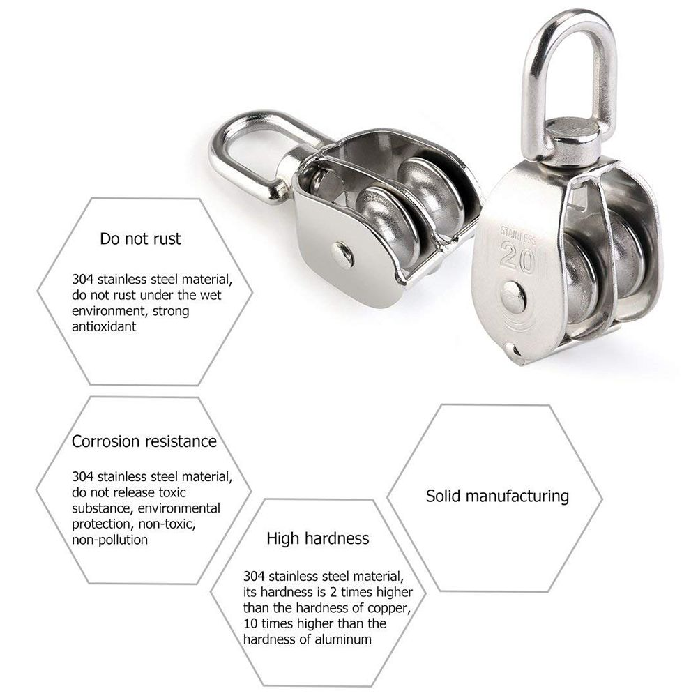 THGS Double Pulley Block 2pcs Stainless Steel 304 Double Swivel Pulley Block