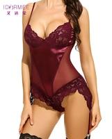 IDARMEE S6500 Women Strap Underwear Sexy Lingerie Garters Sheathy Crotchless Lenceria Erotic Langerie Babydoll Teddies Plus