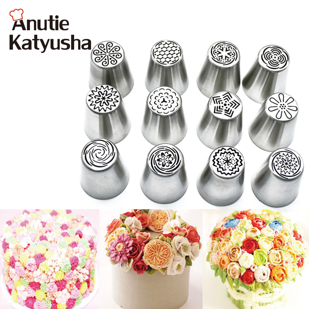 12Pcs/lot Stainless Steel Pipping Nozzles Set Icing Cream Piping Mouthpieces Patisserie Utensils Pastry Tips Set Cake Decoration
