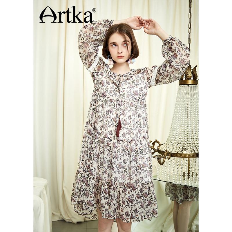 ARTKA 2018 Autumn and Winter New Sweet Floral Chiffon Lace Dress Lantern Sleeve High Waist Women