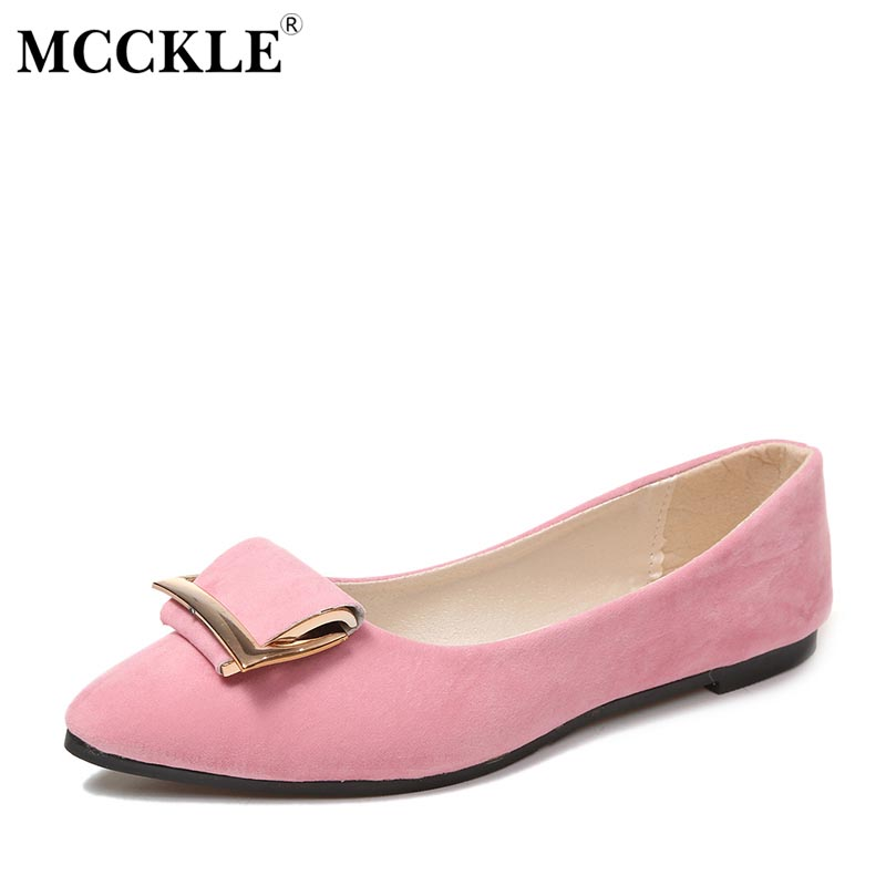 MCCKLE 2017 Women Pointed Toe Suede Slip On Shallow Square Buckle Moccasins Female Comfortable Office Dress Casual Flat Shoes casual square toe and slip on design flat shoes for women