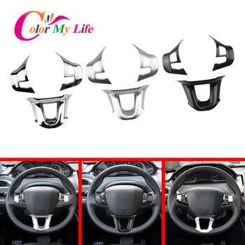 3Pcs/Set Car Steering Wheel Decoration Cover Trim Sticker Fit for Peugeot 2008 208 308 2014 2015 2016 2017 2018 2019