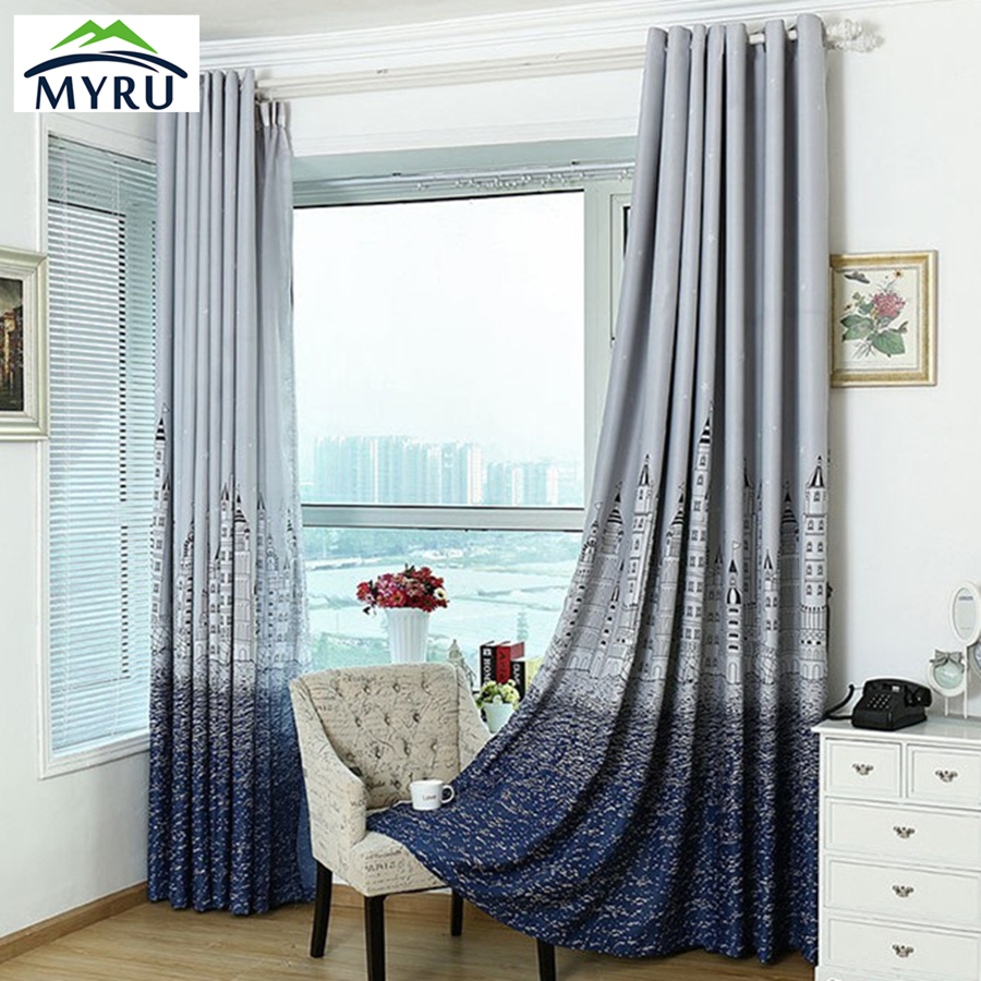 Modern Brief Curtain Finished Blind Sheer Curtain For Bedroom Tulle Blackout Kids Bedroom Tulle