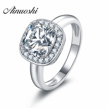 Lovers Promise Cushion Cut Ring Square Sona Halo Ring Gift J
