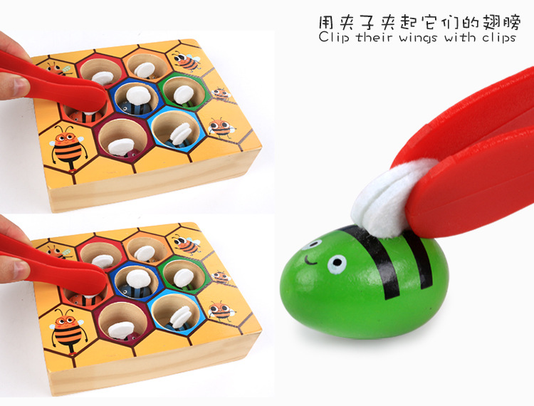 Montessori Early Childhood Bees Game Children Wooden Clamp the bee toy Educational toys Model Building Kits Bees set Baby gift