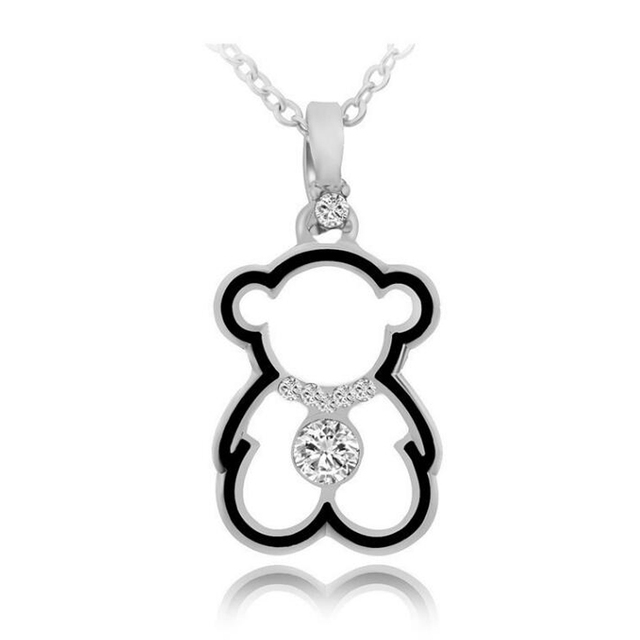 JEXXI New Charm Fashion Cubic Zircon Crystal Women 925 Sterling Silver Plated Cute Bear Pendant Necklaces Jewelry