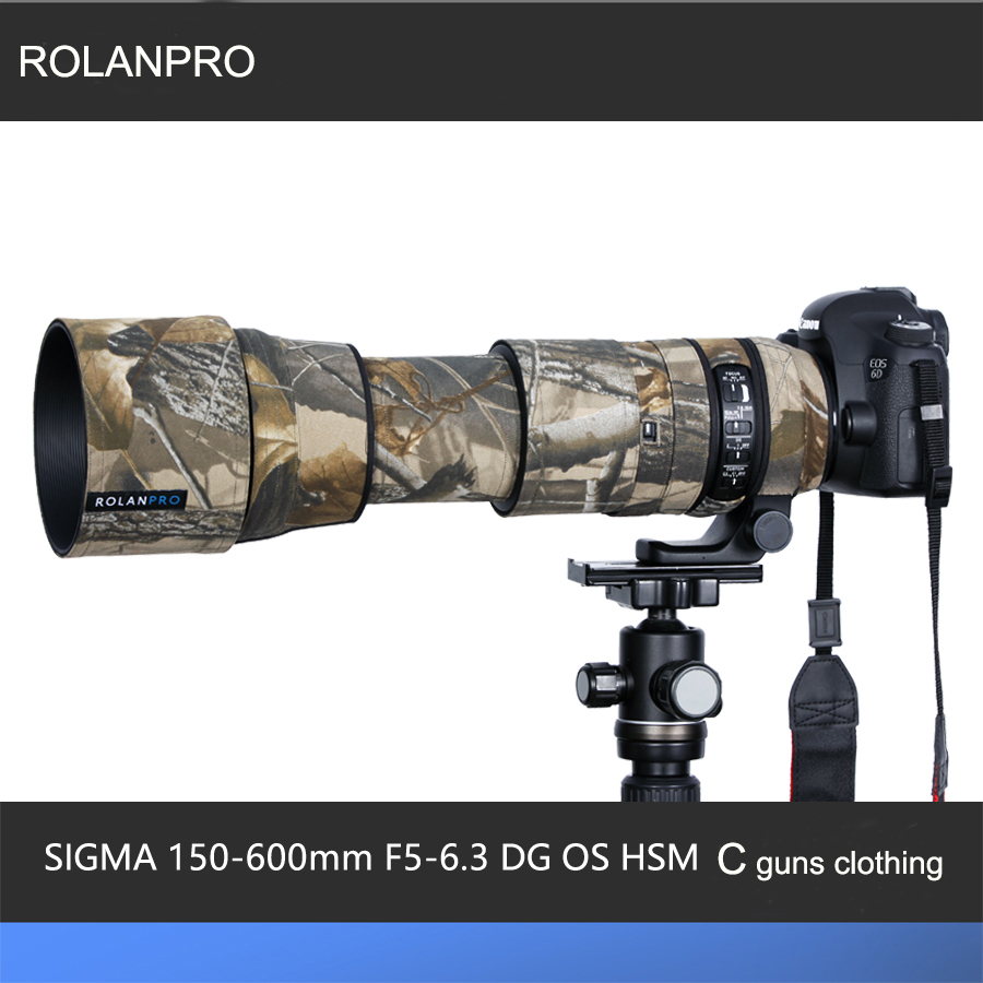 ROLANPRO Lens Clothing Camouflage Rain Cover SIGMA 150-600mm F5-6.3 DG OS HSM Contemporary (AF Version) Lens Protective Sleeve sigma sigma 150 600mm f5 6 3 dg os hsm contemporary полнокадровой телефото зум объектив для съемки птиц лотоса canon байонет
