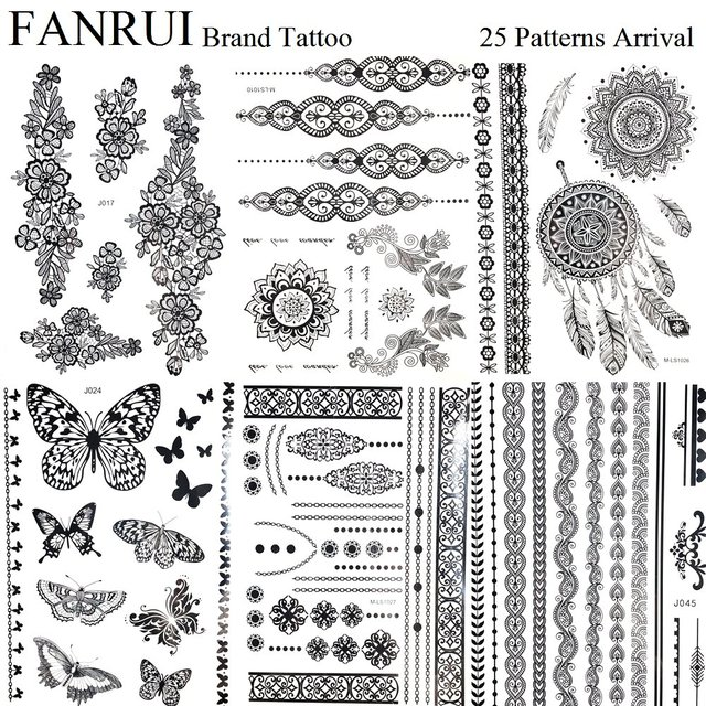 Indian Chains Black Henna Mandala Tattoo Stickers Bracelet Lace Girl