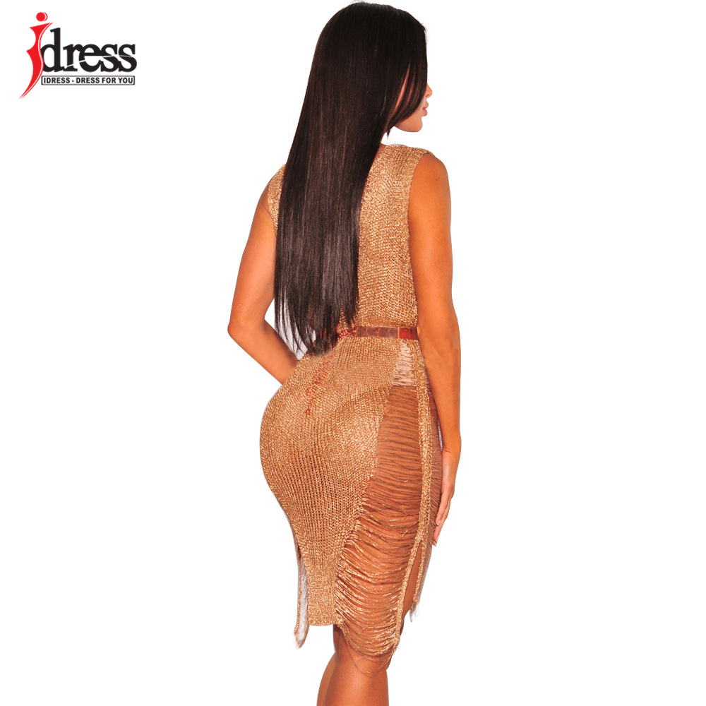 IDress 2017 Sexy Deep V Neck Hollow Out Golden String Knitting Summer Bodycon Women Dresses Sleeveless Mini Club Dress Vestidos (3)