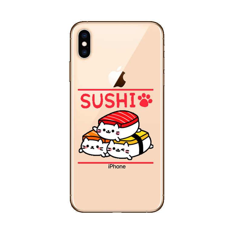 Funda de teléfono japonesa de salmón Sushi para Iphone XS MAX XR transparente de silicona TPU para Iphone 5 5S SE 6 s Plus 8 7 7 Plus