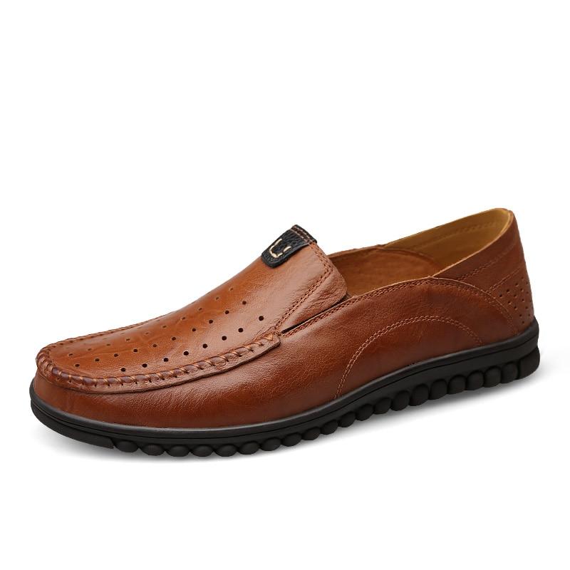 300e728aecac68 Doux D été Cuir Chaussures brown Trou Homme 2017 Black Rétro Hommes Clax  Confortable khaki Occasionnels ...