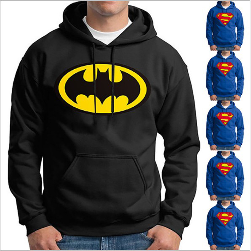New hoodie hooded Batman Superman printing men's casual cotton autumn and winter warm Sweatshirt men's casual sportswear