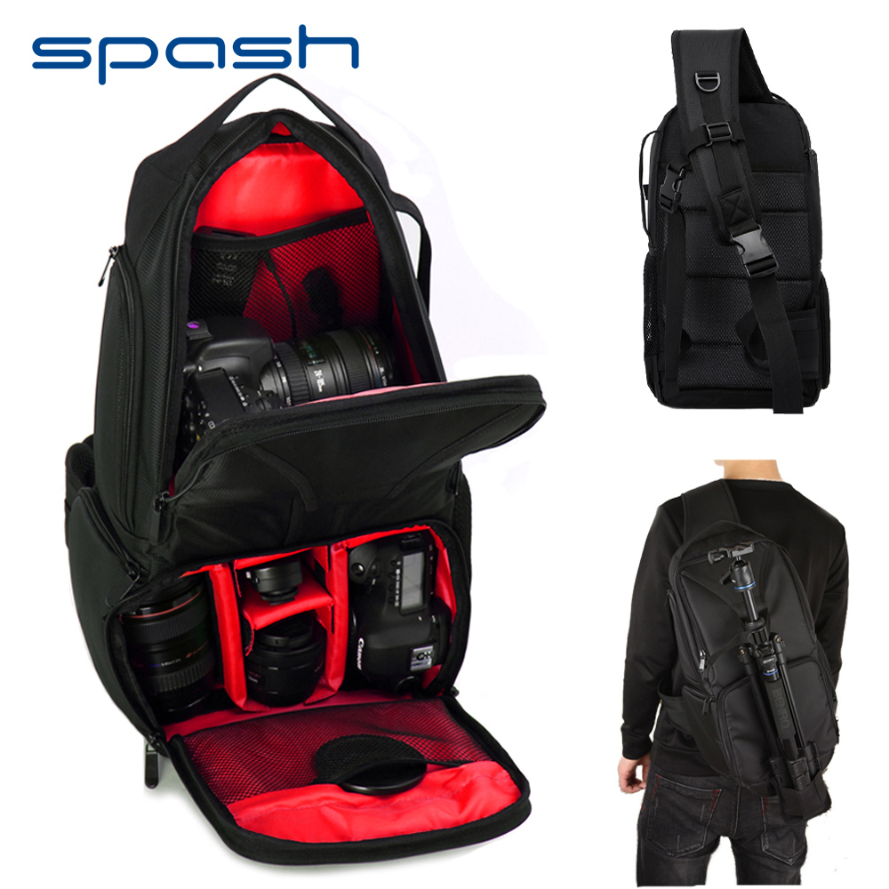 spash Multi-functional Waterproof DSLR Camera Bag Shoulder Backpack Video Photo Bags Removable Insert Dividers Large Capacity lowepro protactic 450 aw backpack rain professional slr for two cameras bag shoulder camera bag dslr 15 inch laptop
