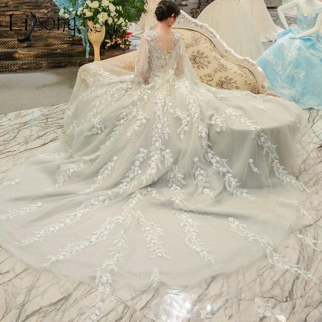 Aliexpress.com : Buy Luxury 2018 Light Gray Wedding Dresses Delicate ...