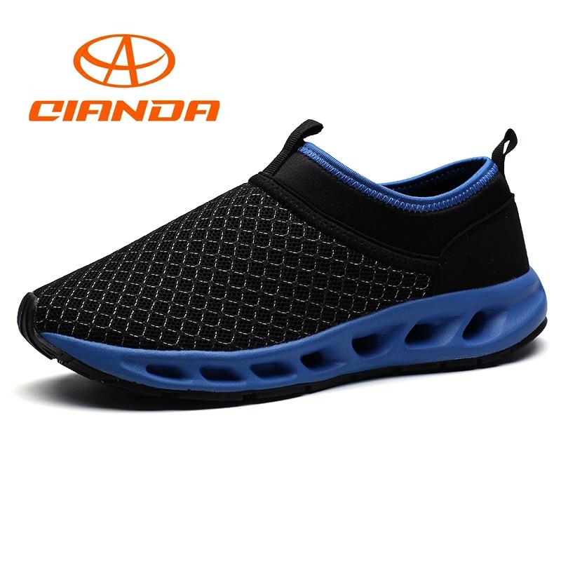 QIANDA Running Shoes for Men Summer Breathable Comfortable Mesh Light Man Sneakers Cushioning Slip-on Outdoors Jogging Sport