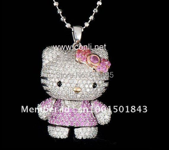 d15b76b50 50CM chain 3D Hollow alloy Hello kitty Necklace with Shinning Czech Diamonds  3D Hollow hello kitty