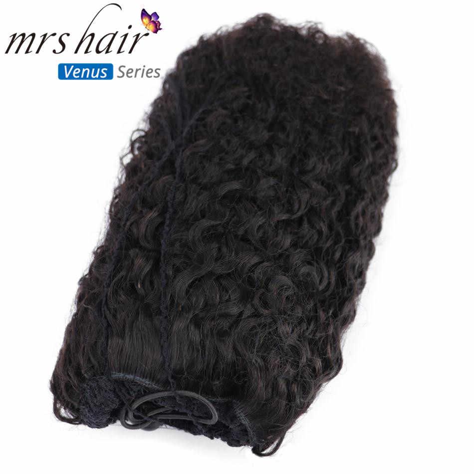 MRSHAIR Afro Kinky Curly Ponytails Virgin Hair Extension Natural Black Woman Remy Brazilian Clip en Pieces Drawstring Pince Cheveux coletas cola de caballo cabello humano extensiones naturales