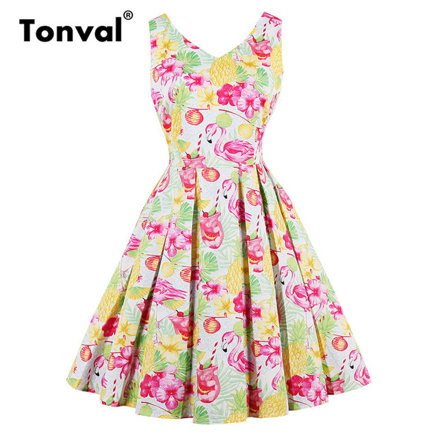 Tonval Pineapple Print Summer Pleated Dress Women V Neck Vintage 1950s  Dress Elegant Flamingo Sleeveless Cotton Dresses efedd55ce82f