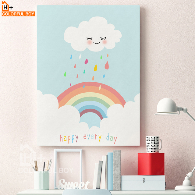 Buy colorfulboy modern rainbow clouds for Canvas painting for kids room