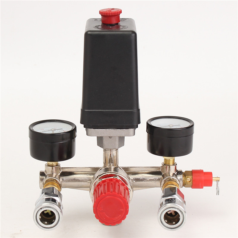 NEW Air Compressor Pressure Control Switch Valve Manifold Regulator W/Gauges Relief Auto Control Auto load/unload 40343 adjustable pressure switch air compressor switch pressure regulating with 2 press gauges valve control set