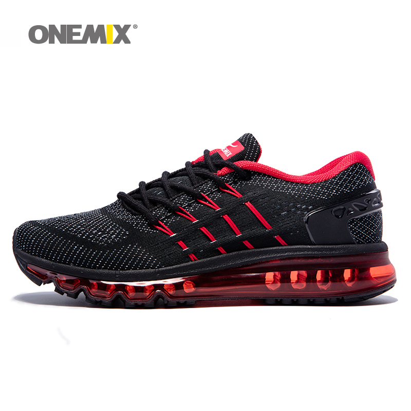 Onemix Man Running Shoes New Style Woman Sport Sneakers Mesh Breathable Athletic Outdoor Black Red Blue Big size eu36-46 2017 new style running shoes man cushioning breathable cool textile sneakers red black men light sports shoes
