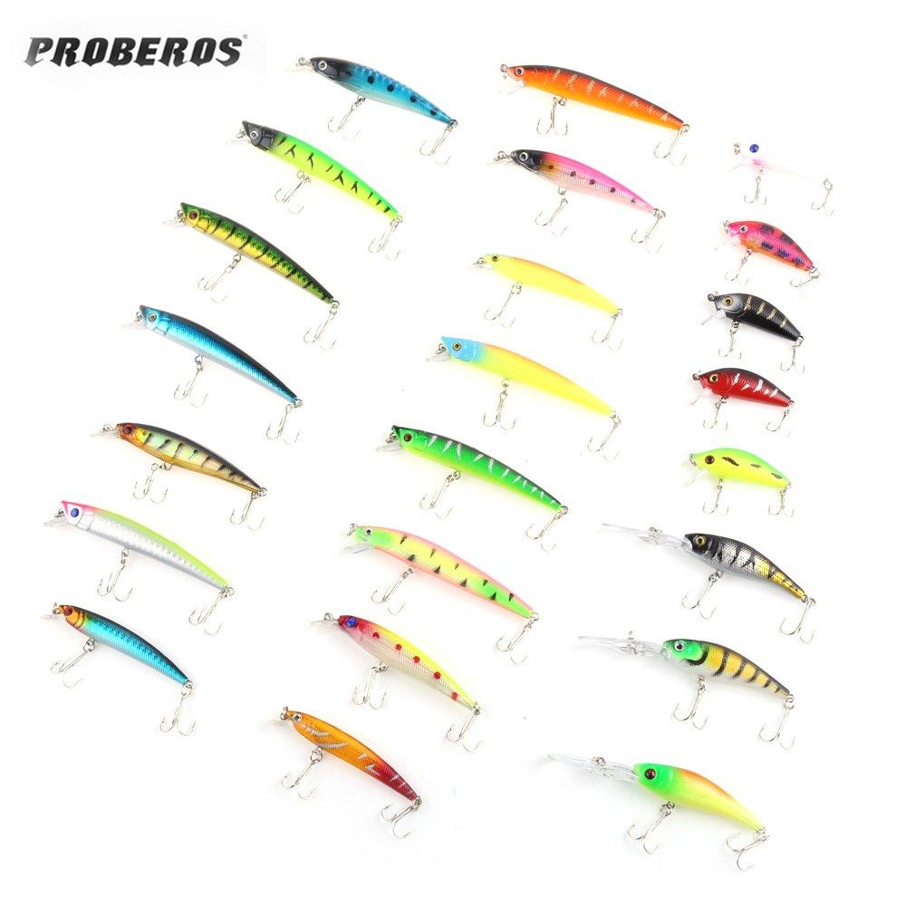 PROBEROS DW - MI006 43pcs / Lot Minnow Popper Crank Fishing Bait Fish Lure Tackle 3D Holographic Eyes Fishing Bait цена 2017