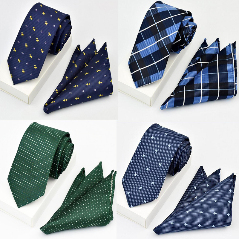 Ricnais New Desgin Neck Tie Set For Men Classic Slim Ties Handkerchief Red Blue Necktie Pocket Square For Business Party Gift