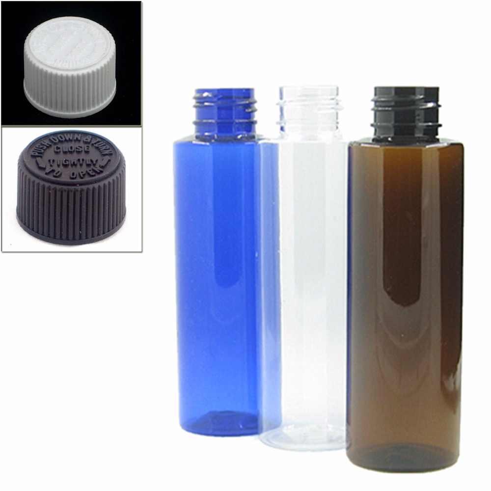 100มิลลิลิตรใสที่ว่างเปล่า/สีฟ้า/สีเหลืองอำพันกระบอกขวดพลาสติกขวดpetด้วยสีขาว/สีดำเด็กทนหมวกx5