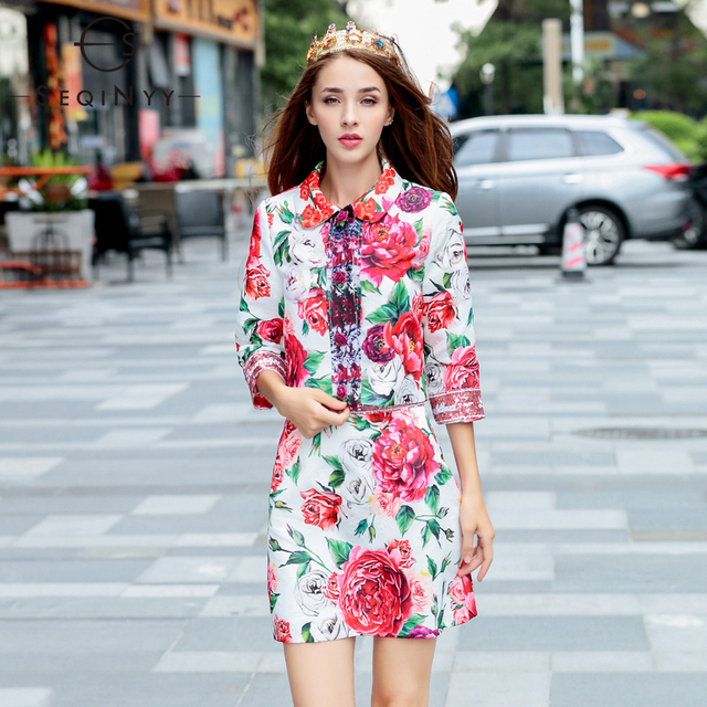 b7363eb1b376b SEQINYY Runway 2 Piece Dresses 18 Early Autumn Fashion Rose Button Jacquard  Flower Sequins Jacket+Mini Print Two Piece Dresses