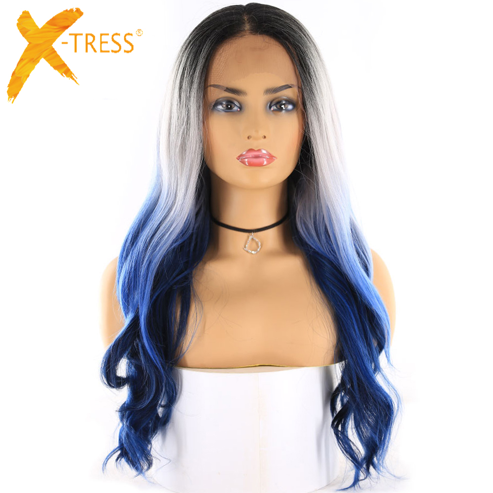 Ombre Blue Lace Front Synthetic Hair Wigs Middle Part X-TRESS 24inch Long Wavy 13x4 Ear To Ear Lace Frontal Wig With Baby Hair