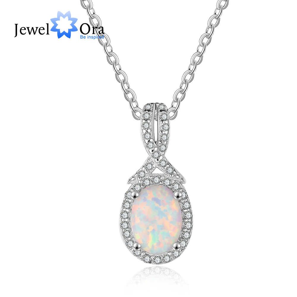 Oval With Tie Shape Opal Stone Pendants Necklaces For Women 925 Sterling Silver Fashion Jewelry Party (JewelOra NE103150)