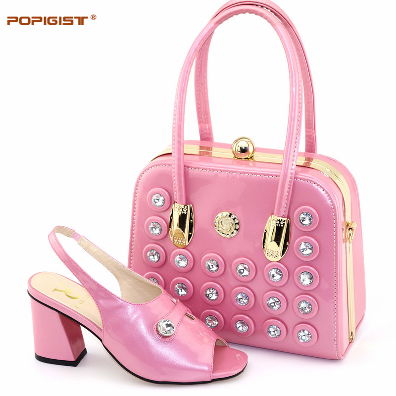 PU Leather Pink Color Decorated with Rhinestone Nigerian Shoes and Matching Bag Party Shoes Italian Shoe