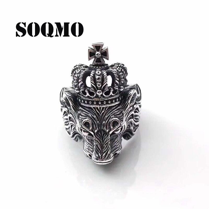 SOQMO hommes bague 925 en argent Sterling couronne Lion nouveau à la mode doigt Cool Animal ouvert réglable anneaux cadeau de luxe pour petit ami