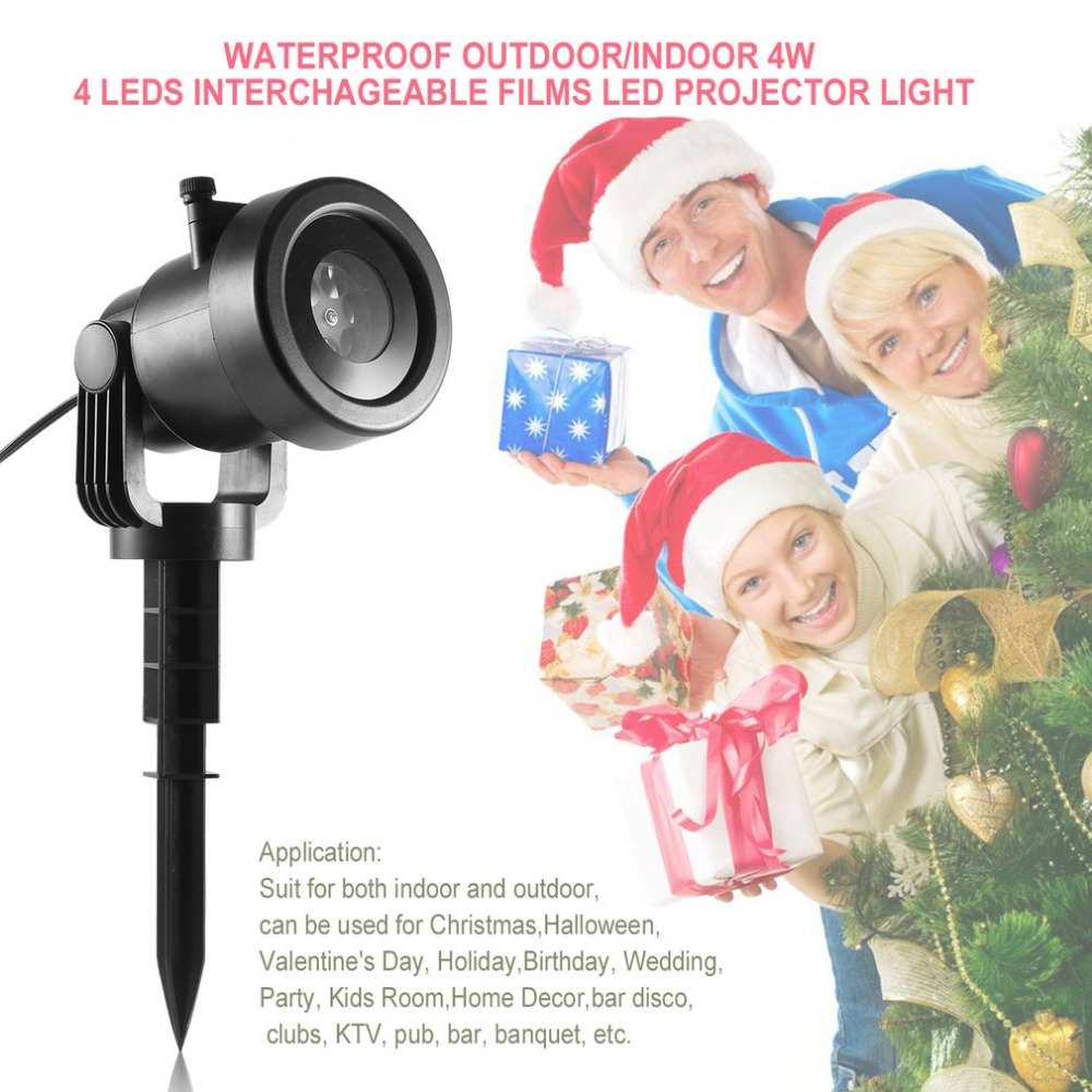 Waterproof Outdoor/Indoor 4W 4 LEDs Projection Light Projector LED Spotlight LED Lamp for Party Holiday Christmas Decor