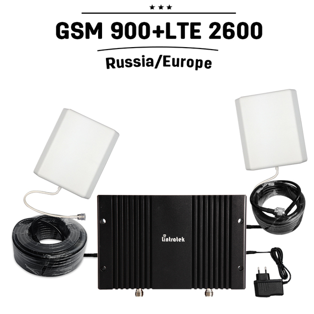 2G GSM 900mhz 4G FDD LTE 2600mhz Dual Band Mobile Cell Phone Signal Repeater Booster GSM 4G LTE Amplifier Antenna Set