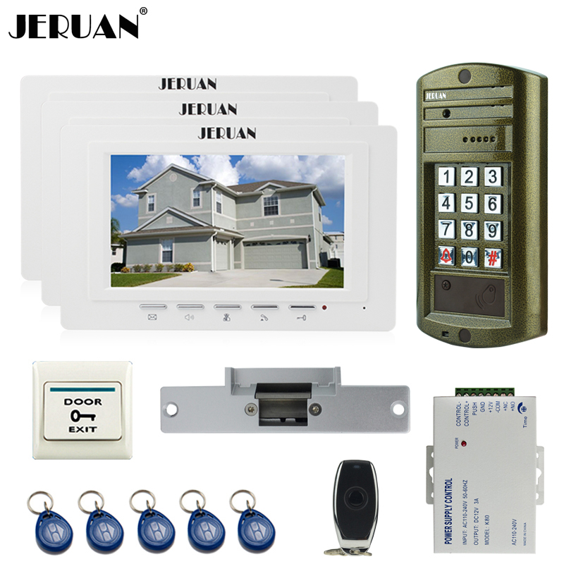 JERUAN 7 inch TFT Video Intercom Door Phone Doorbell System kit 3 Monitor + Metal waterproof password HD Mini Camera 1V3