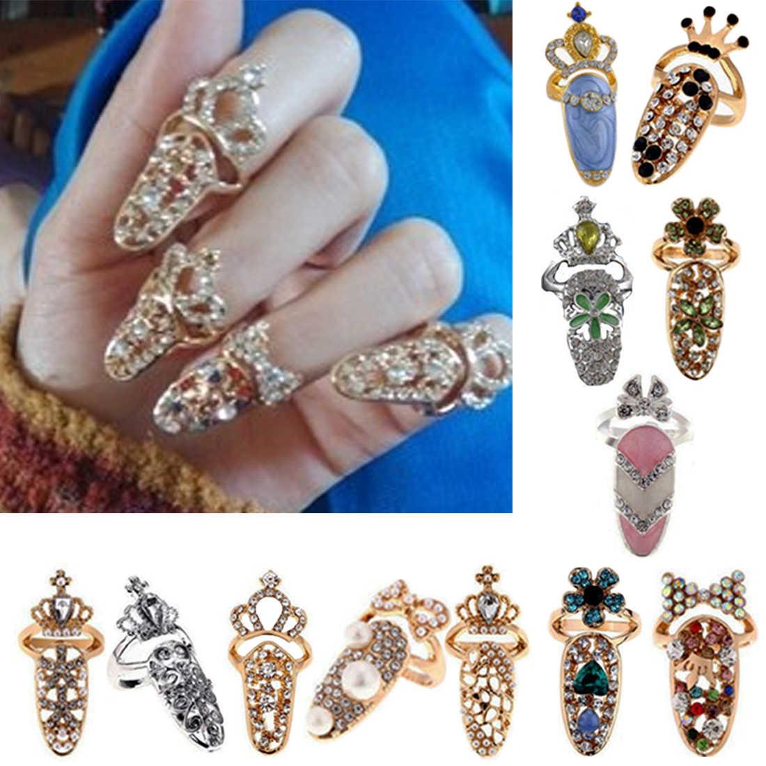 1 pieza de cristal falso clavo elegante exquisito anillo joyería exquisito diamante cubierta de uñas anillo de cola Junta anillo corona armadura Accesorios