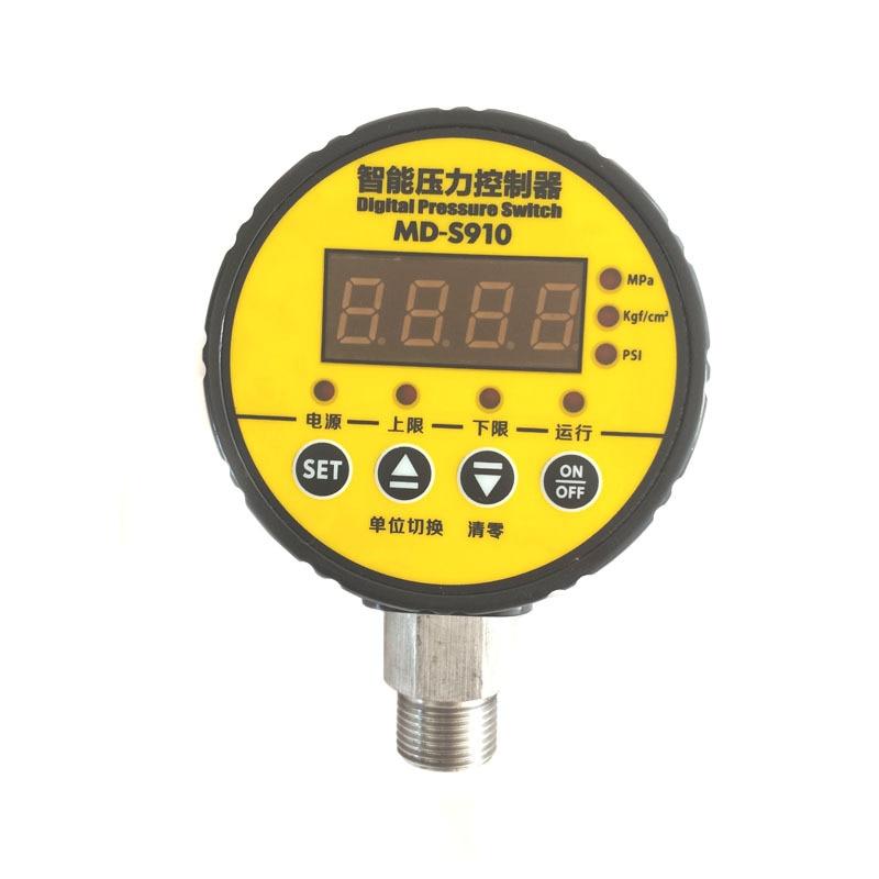 digital pressure controller digital pressure gauge pump air compressor digital pressure switch MD-S910 0~1.6MPA G1/2 AC220V ac220v 0 10mpa air compressor pressure switch digital pressure gauge relay output